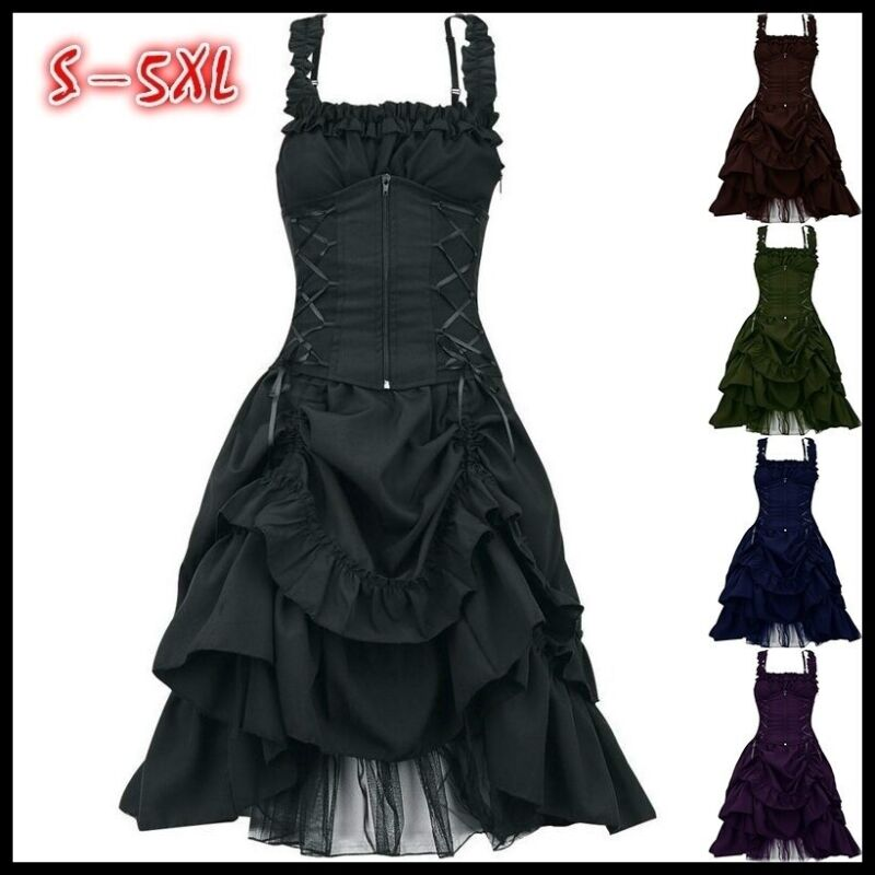 Victorian Dress Womens Vintage Gothic Steampunk Dress Cosplay Costume Plus Size