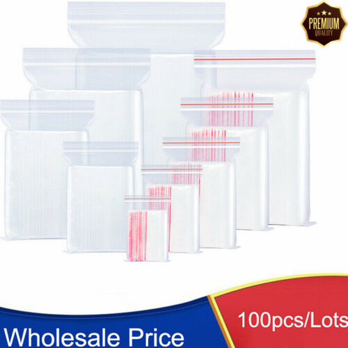 100 Bags Small Baggies Clear Reclosable Zip Zipper Lock T-Shirt Plastic Poly Bag