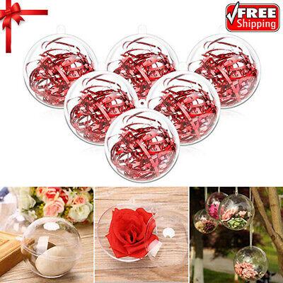 5~20pcs Clear Plastic Balls Christmas DIY Baubles Fillable Xmas Tree Ornament](Plastic Ornament Ball)