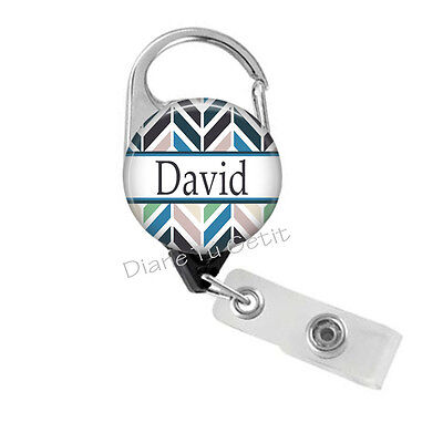 Badge Reel for Man - Woman Personalized Carabiner Aztec Retractable Badge (Personalized Carabiner)
