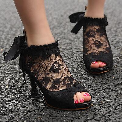 Gothic Lace Ribbon Bridesmaid Court Bridal Bride Wedding Heel Shoes UK 2.5-6