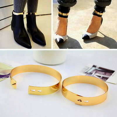 Fashion Gold Flat Mirror Metal Anklet Ankle Foot Cuff Bracelet Bangle Ring UL