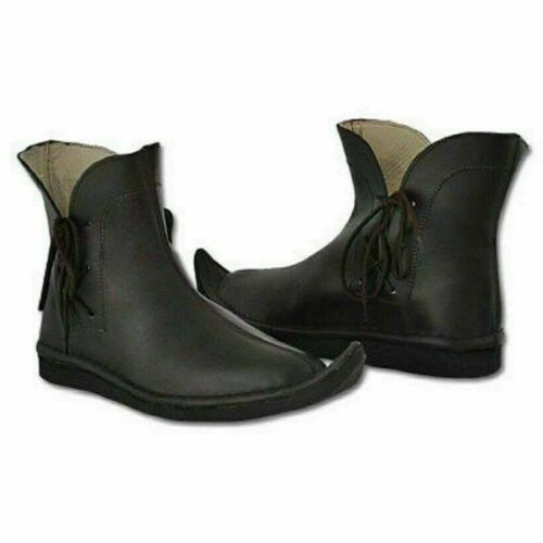 Roman Medieval Leather Shoes Reenactment Theater Gift Black real leather boots C