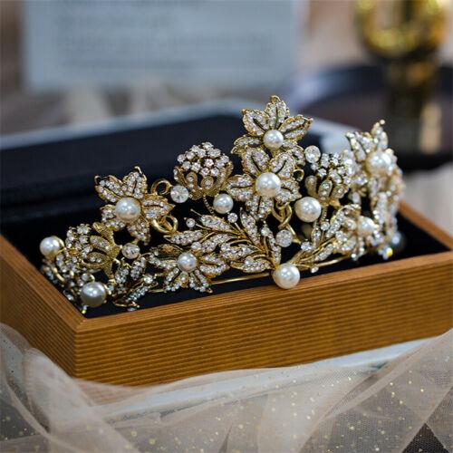 Vintage Bridal Flower Crown Tiara Rhinestone Hair Accessories Princess Headpiece