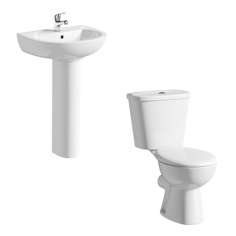 Close coupled toilet suite with full pedestal basin + Basin Mixer ...