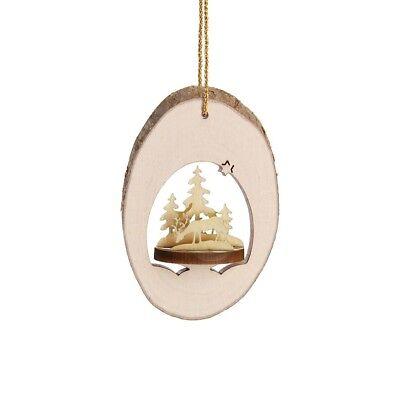 Wood Christmas Ornament, 3D Laser-cut Locket, Forest motif, from Germany Christmas Ornament Locket