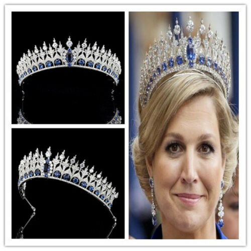 Royal Blue Zircon Crown Pageant Tiara Wedding Headband Headpiece Jewelry Silver