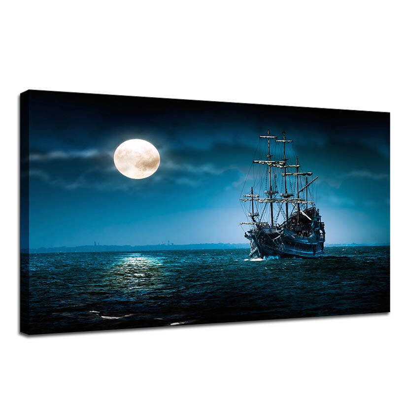 Details About Pirate Ship Hd Wallpaper Canvas Painting Hanging Pictures Home Wall Art 24 X36