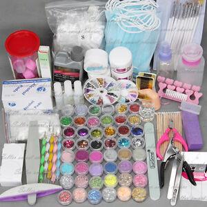 Acrylic Powder Nail Art Kit UV Gel Manicure DIY Tips Polish Brush Set AU Post
