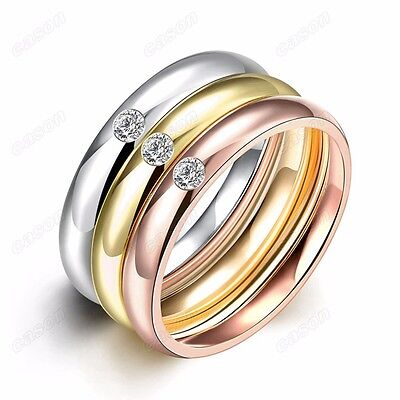 3-In-1 CZ Tri Color Comfort Fit Plain Ring 18KRGP Titanium Stainless Steel Rings ()