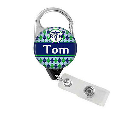 Personalized Carabiner RN Badge Holder Retractable Nurse Badge Reel for (Personalized Carabiner)