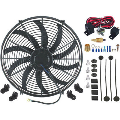 """16"""" INCH ELECTRIC RADIATOR COOLING FAN 120W HIGH POWER CFM THERMOSTAT SWITCH KIT"""