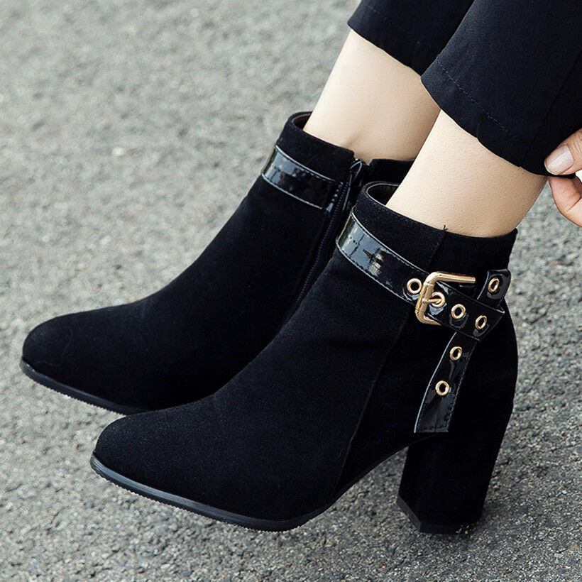 Women  Martin Ankle Boots Plus Size Suede Chunky High Heel C