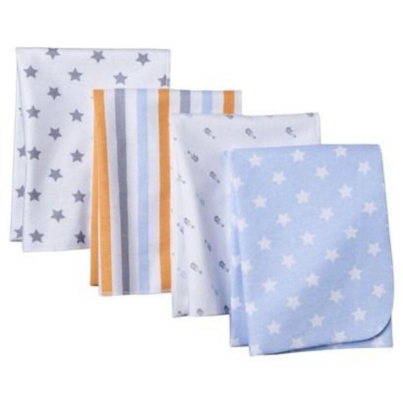 Circo Boy 4pk Flannel Receiving Blankets Baby Star Stripe Gu