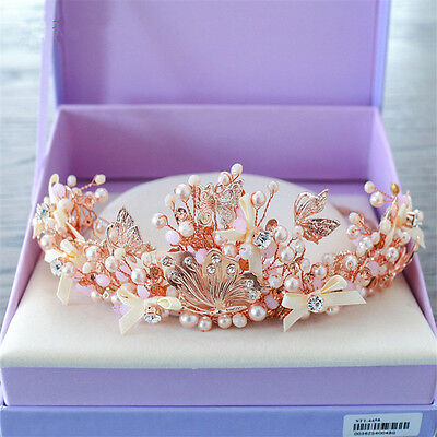Bridal Rose Gold Crown Butterfly Tiara Wedding Rhinestone Headpiece Hair Jewelry