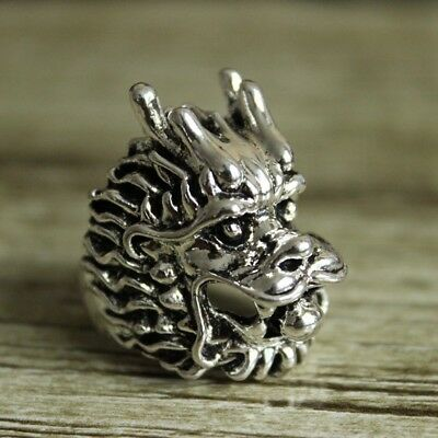 handmade Chinese Dragon Hand Crafted Recycled Sterling Silver Black Onyx Dragon Ring