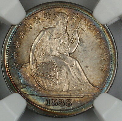 Click now to see the BUY IT NOW Price! 1838 SEATED LIBERTY DIME LARGE STARS NGC UNC DETAILS TONED CHOICE BU COIN