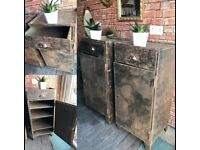 Matching pair Antique metal industrial chic/ military cupboards/bedside tables