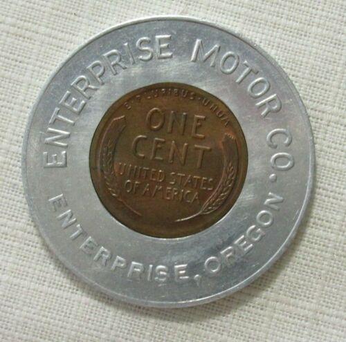 ENTERPRISE OREGON MOTOR CO S.A. SEX APPEAL 1948  ENCASED CENT GOOD LUCK PENNY