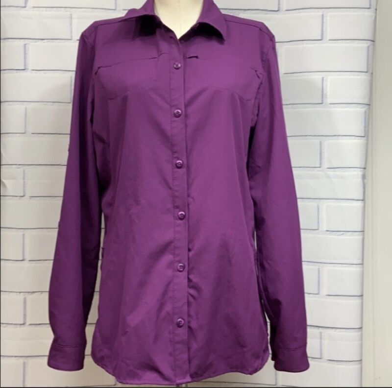 Rei Sahara Long Sleeve Purple Hiking Travel Shirt Size M