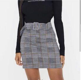 PLT Grey check belted mini skirt