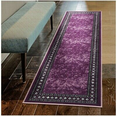 Modern Bordered 2x7 Non-Slip Low Profile Pile Rubber Backing indoor Area Runner