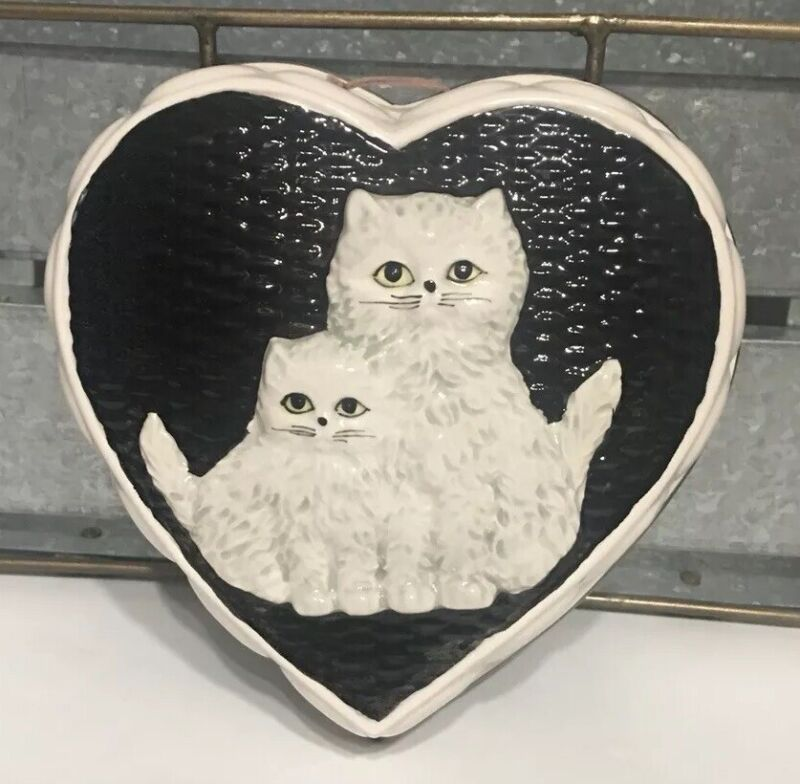 Vintage Takahashi Ceramic Cat Kitten Heart Black White Cat Plaque Hanging Decor