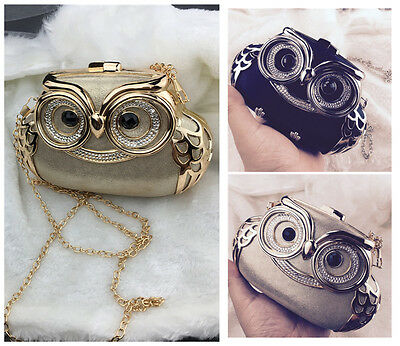 Wedding Bridal Women Crystal Owl Evening Clutch Bag Prom Handbag Purse Hard Gift - Evening Hard Clutch Purse Handbag