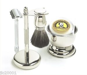 5-PIECE CHROME SHAVING SET w/MERKUR LONG HANDLE SAFETY RAZOR