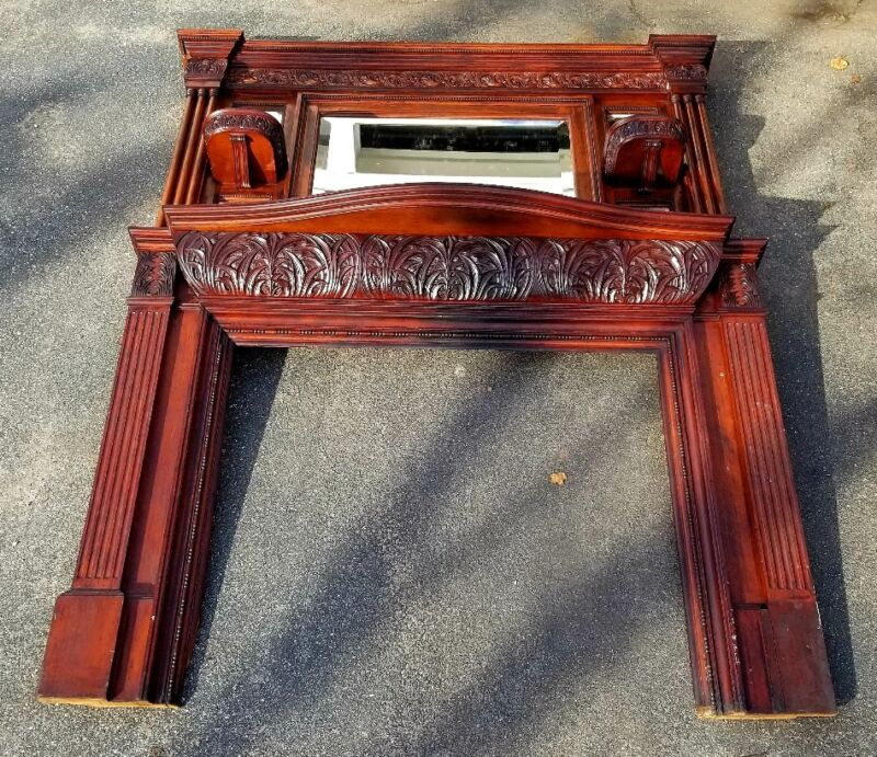 Early Art Nouveau 1890s Whip City Mahogany Fireplace w Overmantle
