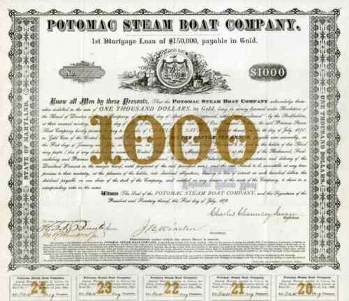 1878 Potomac Steam Boat Bond Certificate