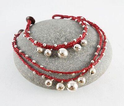 Cool String Bracelets (COOL RED WAX STRING BEADS BRACELET ANKLE ANKLET BRACELET JINGLE BELL)