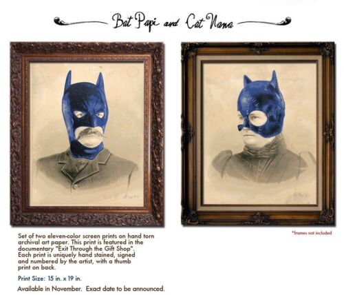 New Mr. Brainwash Signed And Numbered Bat Papi And Cat Nana Prints MBW Banksy - $4,899.99