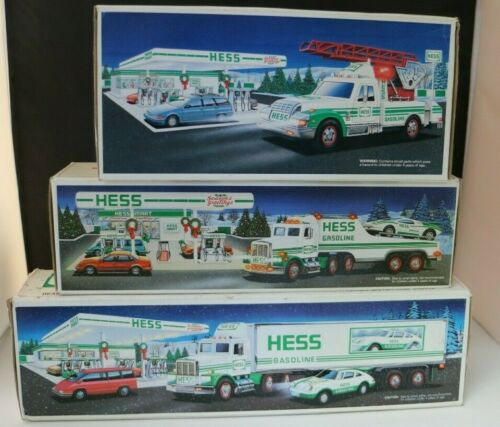 Hess Gasoline Racer Rescue 18 Wheeler Toy Trucks Set Of 3 1991 RARE