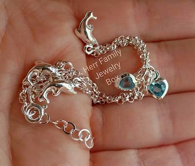 925 Sterling Silver Blue Austrian Crystal CZ Dolphin Beach Anklet Ankle Bracelet