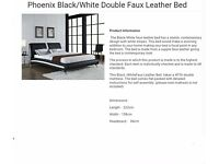Double bed leather black and white