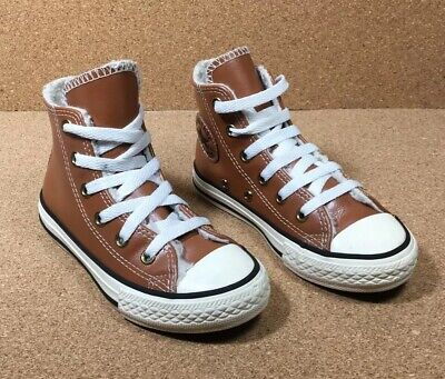 aylor Genuine Leather W Shearling High Top Shoes Tan Boys 11 (Chuck Taylor Boys)