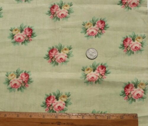 """Pretty Antique c1890-1900 Roses Printed On Cotton Lawn Fabric~L-22"""" X  W-15"""""""