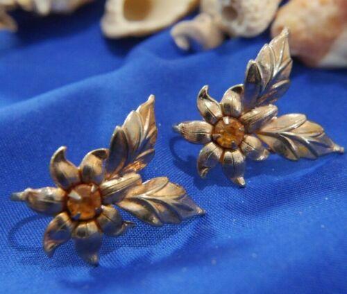 Vintage Yellow Rhinestone Flower Vermeil 925 sterling silver Screw Back Earrings