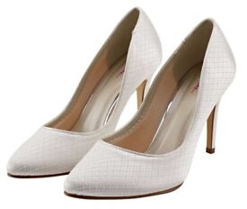 """Wedding Shoes - """"Rainbow Club"""" - Cassidi - Ivory Cosmic Lace Court, Size 6"""