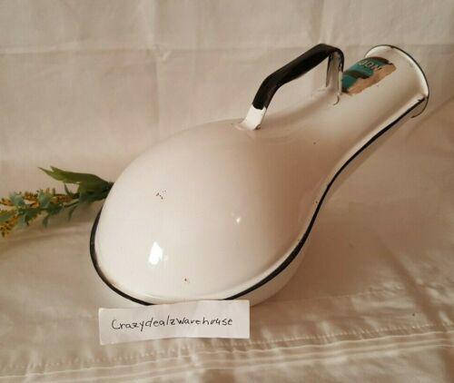 Vintage Jones White Porcelain Enamel Male Urinal Bed Pan Enamelware
