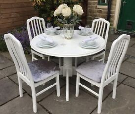 Round Table & 4 Chairs ~ Silver Grey Upholstery