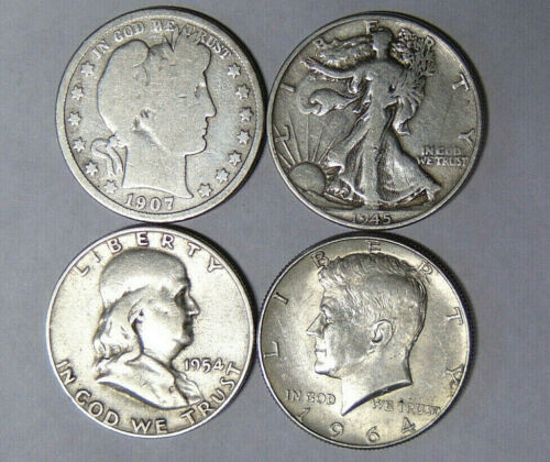 Silver Half Dollar Type Set Barber Walking Liberty Franklin Kennedy (7919)