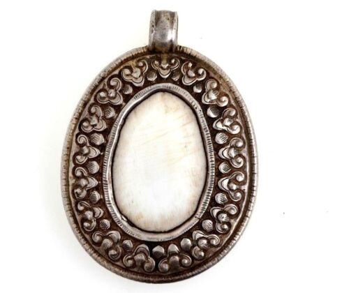 Tibet Large Silver Pendant W/ Cattle Bone ESTATE FIND BEAUTIFUL!