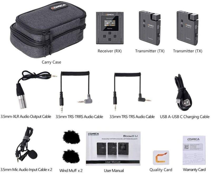 COMICA BoomX-U U2 UHF Broadcast Wireless Microphone System Transmitter Receiver