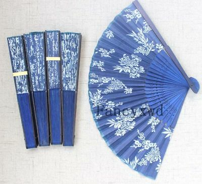 Hand Held Fans Bulk (Hand Held Bamboo Silk Folding Fan Hand Fan Women Ladys Girls Gifts Blue)