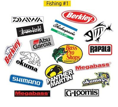 Fishing Logo #1 Decal Vinyl Truck Bicycle Luggage Graffiti Patches Sticker 15PCS