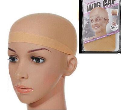 2PCS Elastic Unisex Stocking Wig Liner Cap Snood Nylon Stretch Mesh black Beige for sale  Shipping to Nigeria