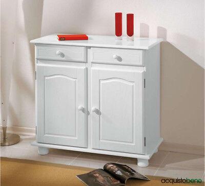 Mobile Buffet Credenza bassa cassettiera in Legno Massello 2 ante e 2 cassetti