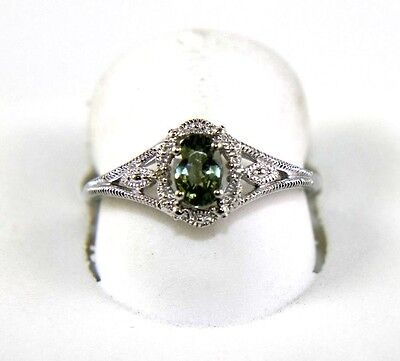 Oval Green Sapphire & Diamond Halo Solitaire Ring 14K White Gold .65Ct